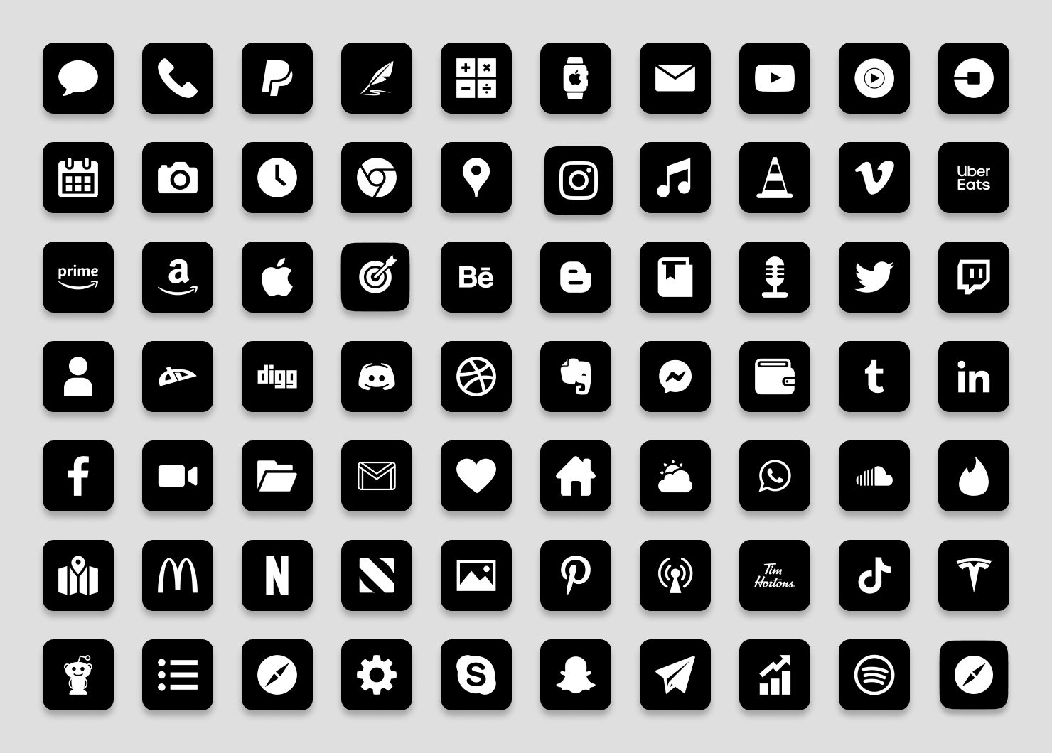 minimal black ios app icons