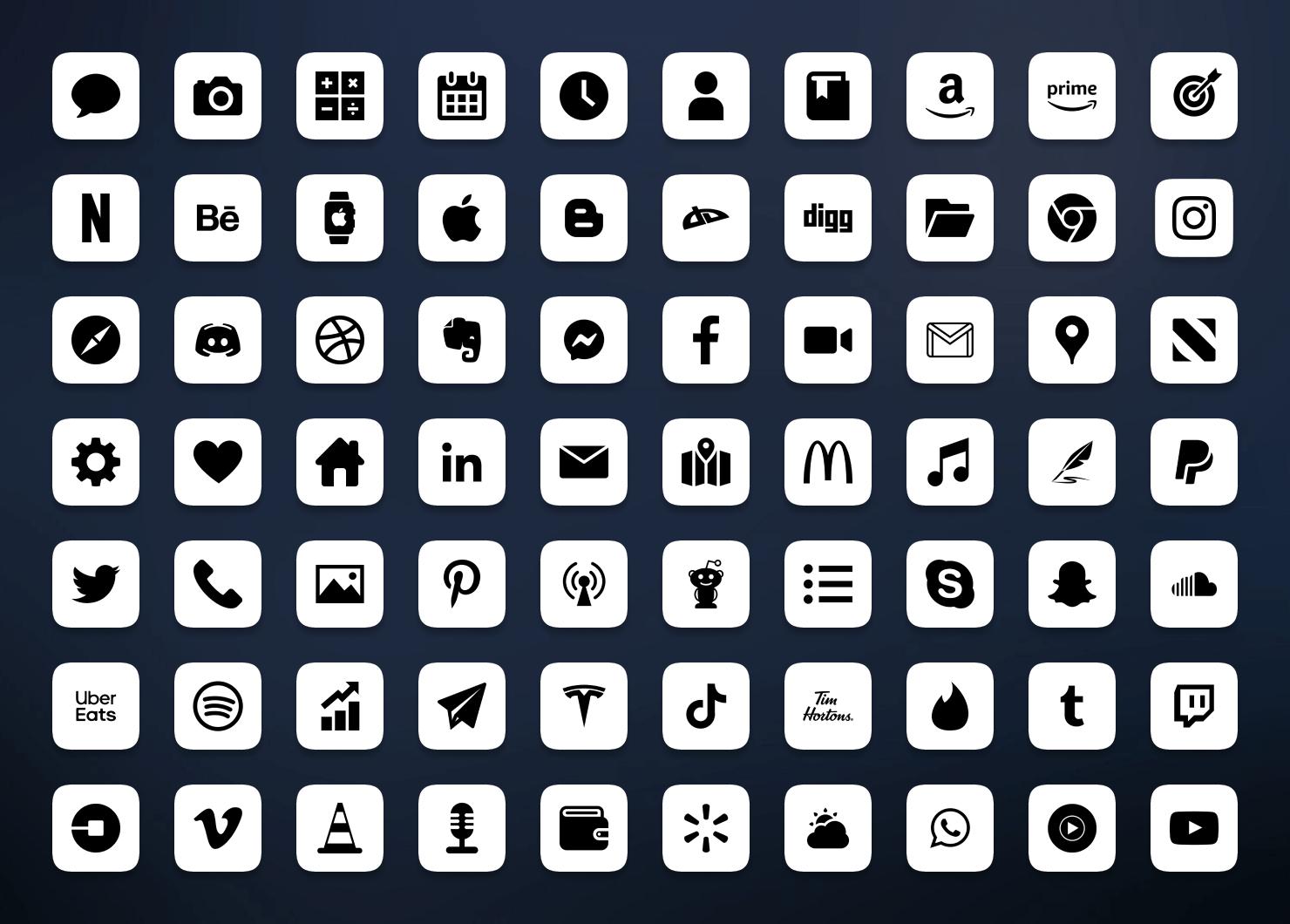 minimal white ios app icons