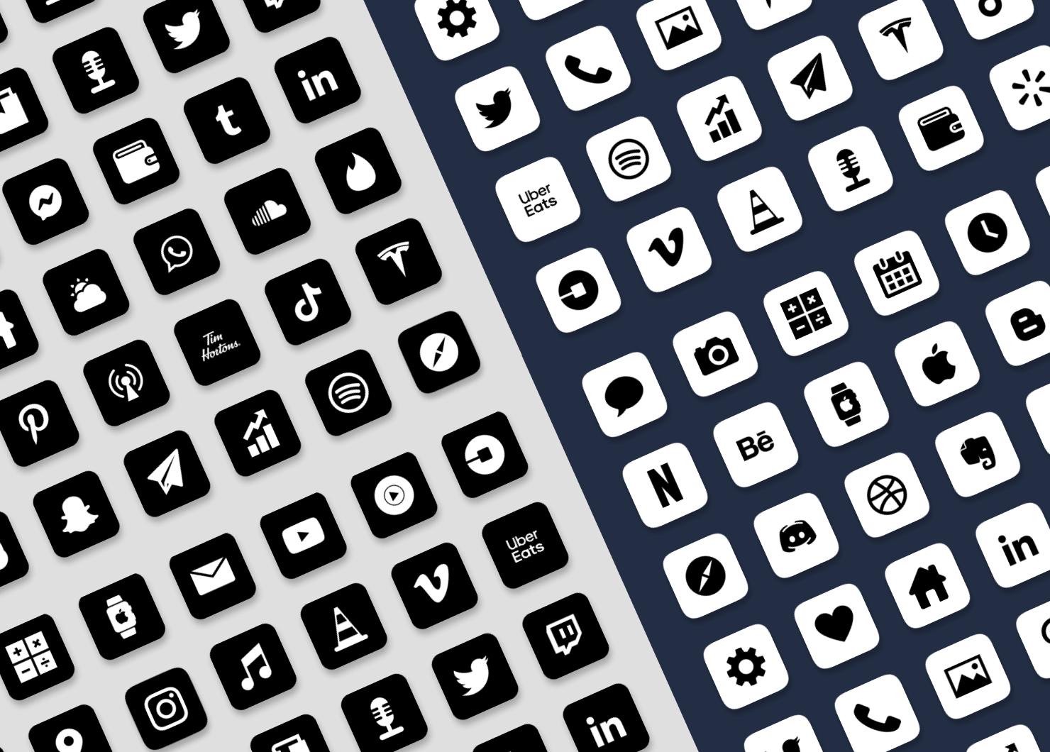 Black & white iOS app icons minimalistic